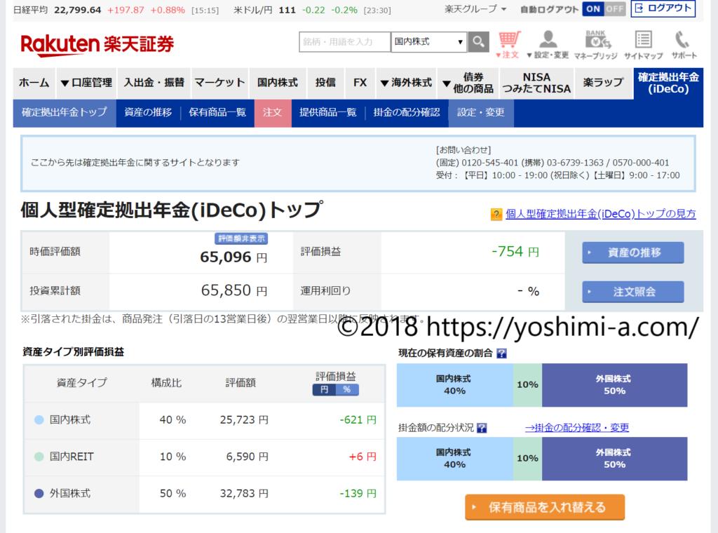 2018年7月(2ヶ月目)のiDecoの損益